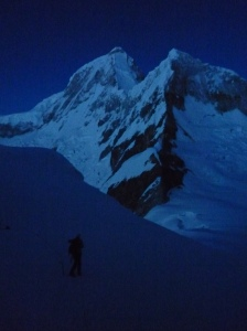 Climbing the glacier by perfect weather at night